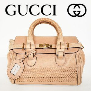GUCCI Handmade Woven Handle Leather Bag